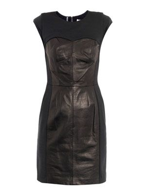 Ponte leather bustier dress