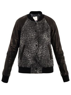 Leopard wool and leather jacket