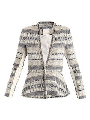 Basketweave tweed chain-trim jacket