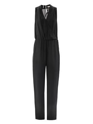 Wrap-front open back jumpsuit