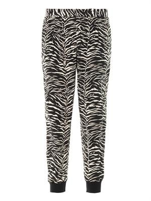 Tiger-print silk trousers