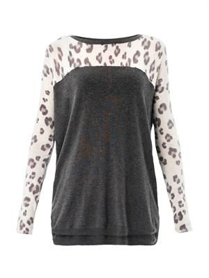 Leopard colour-block sweater