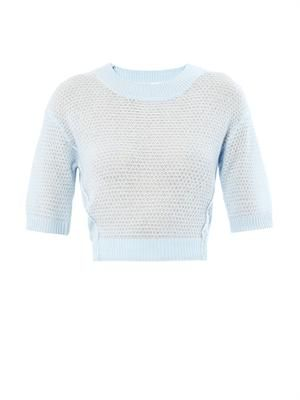 Text cropped cashmere sweater