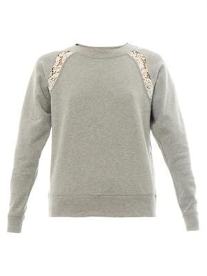 Lace-insert cotton-jersey sweatshirt