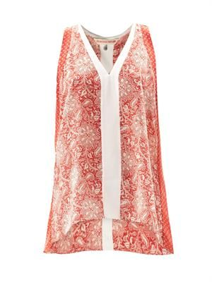 Star-print silk tank top