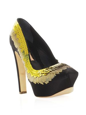 Prelude sequinned satin pumps