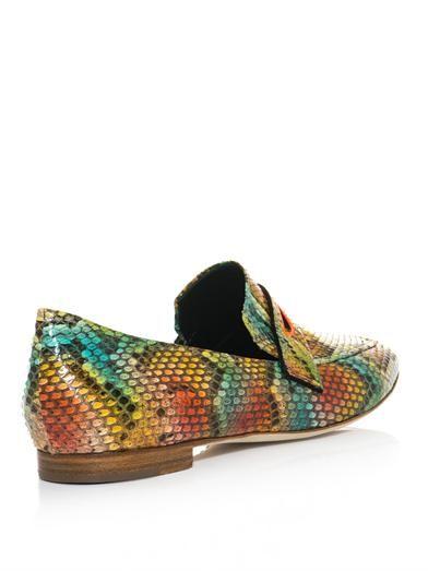 Rupert Sanderson Alma python loafers