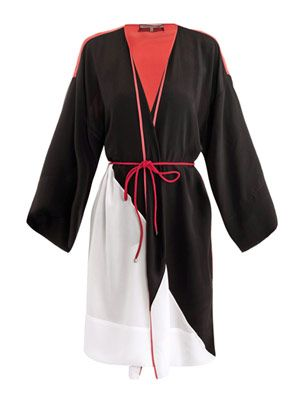 Silk contrast panel kaftan