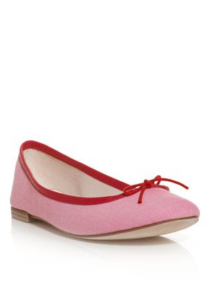 Leather and jersey ballerina shoe