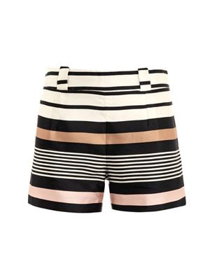 Border stripe silk shorts