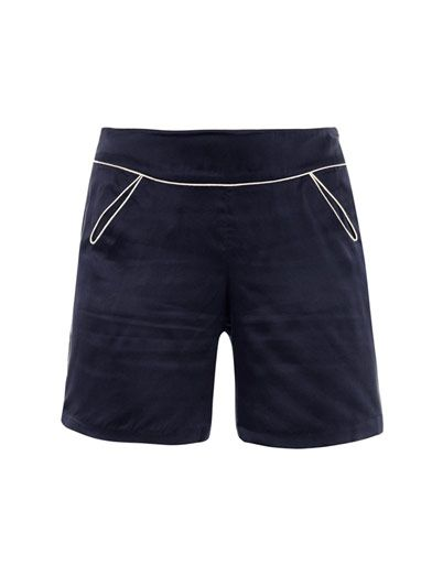 Raoul Piped teardrop silk shorts