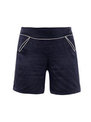 Piped teardrop silk shorts