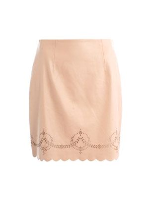 Sandy laser-cut leather skirt