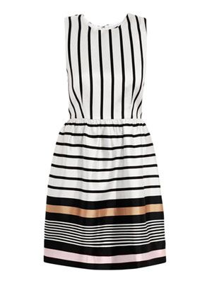 Border stripe silk dress
