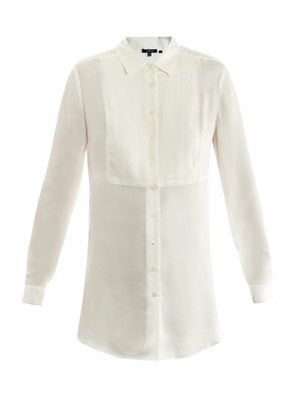 Pin-tuck pleated bib tunic