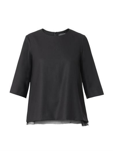 The Row Savo chiffon-hem wool blouse