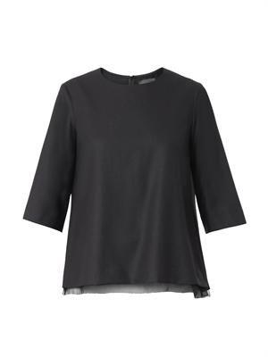 Savo chiffon-hem wool blouse