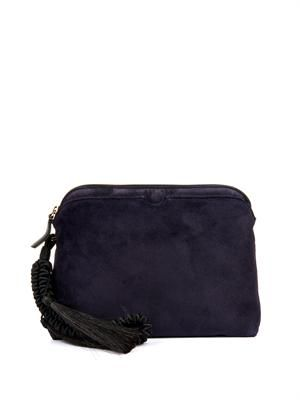 Zip-top suede clutch