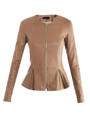 Anasta leather peplum jacket
