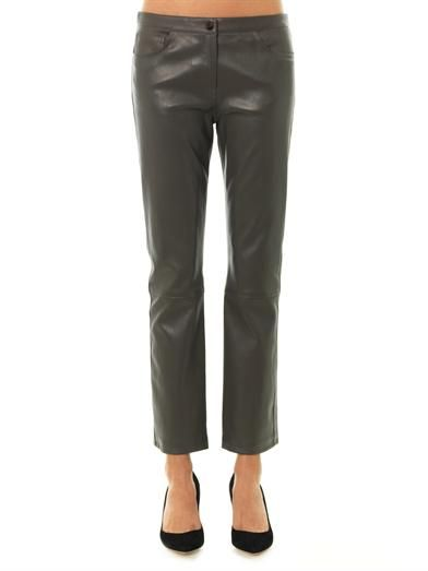 The Row Landly leather trousers