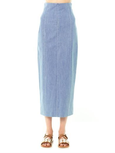 The Row Asti chambray denim midi skirt