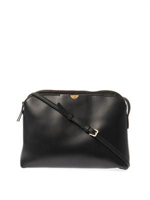 Multi-pouch black cross-body bag