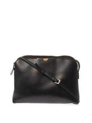 Multi-pouch black cross-body bag