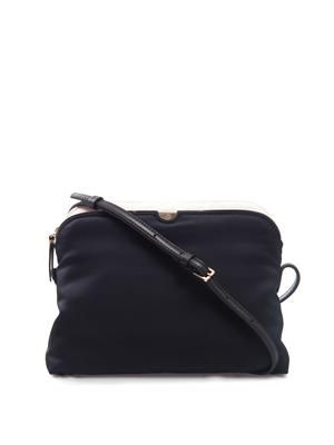 Multi-pouch navy cross-body bag
