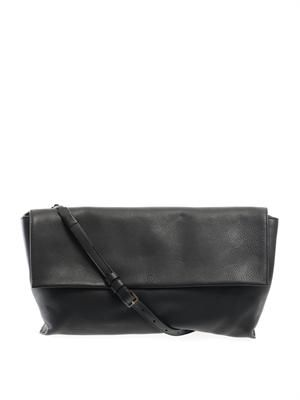 Flapped leather shoulder bag