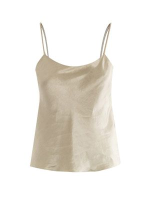 Biggins truffle silk-linen cami top
