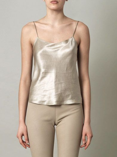 The Row Biggins truffle silk-linen cami top