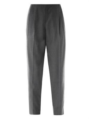 Torac flannel pleated-front trousers
