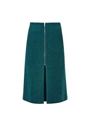 Lykke boiled wool-blend pencil skirt