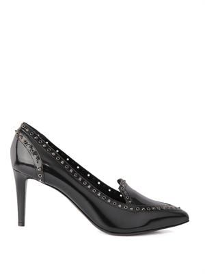 Microstud and eyelet leather pumps
