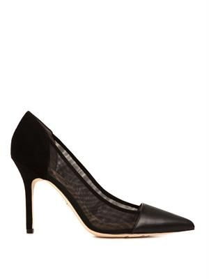Desiree leather, suede and mesh pumps