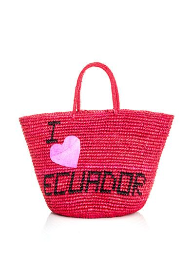 Sensi Studio I love Ecuador woven straw bag
