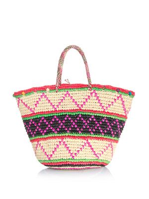 Maxi tribal woven straw bag