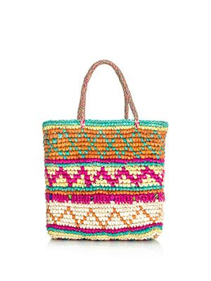 Mini multicolour woven straw bag