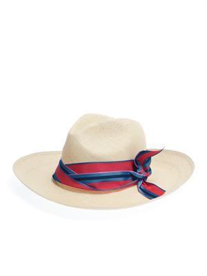 Panama stripe-bow hat