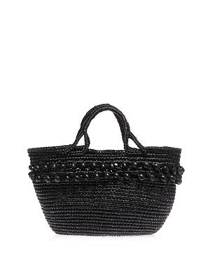 Bead embellished basket tote