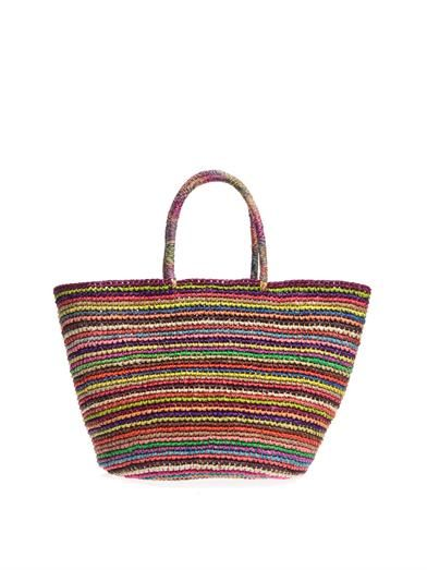 Sensi Studio Multi stripe straw tote