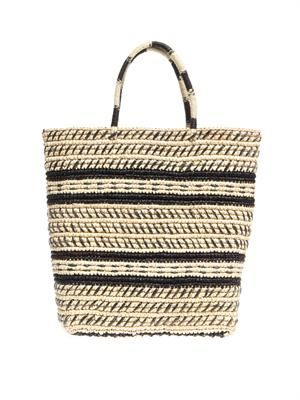 Tribal embroidered straw tote