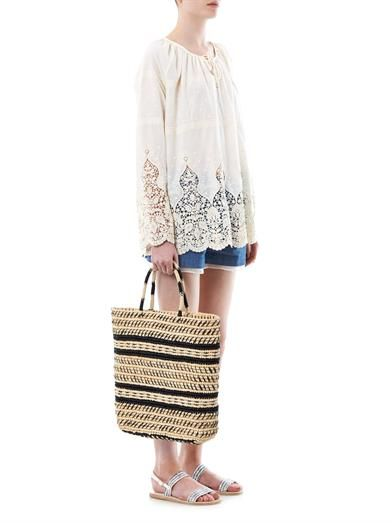 Sensi Studio Tribal embroidered straw tote