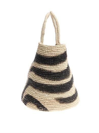 Sensi Studio Zebra-print straw tote
