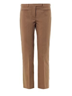 Thomas brown cotton-blend trousers