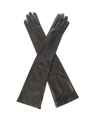 Long-length leather gloves