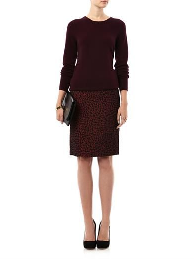 Saloni Wine jacquard pencil skirt