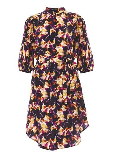 Saloni Tilda Iris-print silk shirt dress