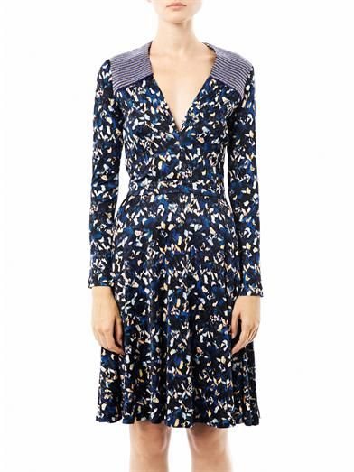 Saloni Iris-print Grace dress
