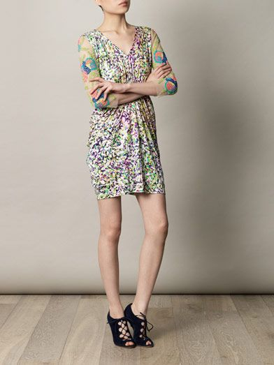 Saloni Cosmia coral reef-print dress